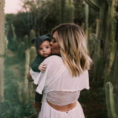 mother + child | family | outdoor shoot | short blonde cut | white dress | backless | infants | babies