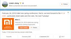 awesome El co-fundador de Xiaomi confirma que el Mi 5 será presentado el 24 de febrero