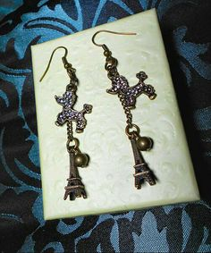 SALE A Summer Night's Dream in Paris - Vintage Style Bronze Rhinestone Encrusted Poodle Charm Earrings w/Dangling Eiffel Tower FREE SHIPPING - Only $5.95 on Etsy! https://www.etsy.com/listing/234592743/sale-a-summer-nights-dream-in-paris