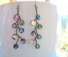 Paua Shell Abalone bead twisted wire branch dangle by KillerJewels