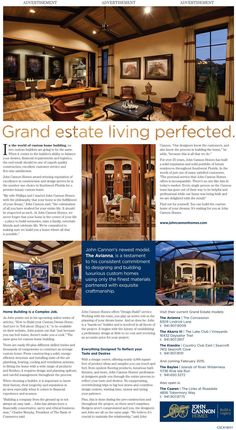 John Cannon Homes Advertorial. Wrote the content for this gorgeous advertorial featured in the January 23 Real Estate section of the Sarasota Herald Tribune Custom Home Builders, Custom Homes, Creative Communications, Public Relations, New Model, Cannon, Luxury Homes, January, Real Estate