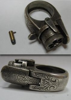 Gun Ring - Ca. 1880/90 - was originally designed for ladies... (I read they got very hot after firing... and given the way people move their hands around, I would think wearing a loaded weapon on your finger would not be a very good idea...)  MY KINDA JEWELRY ,,,LOL