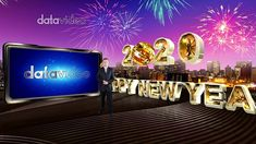 Gorgeous fireworks, city background with golden Happy New Year sign and shiny mirror ball create a celebratory New Year scene.tvsset (Special format for Datavideo Happy New Year Signs, Virtual Studio, Mirror Ball, City Background, Chinese New Year, Tvs, Fireworks, Scene, Entertainment