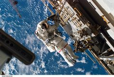 Astronaut Rick Mastracchio  During the 5-hour, 28-minute spacewalk on 15 Aug. 2007, STS-118 mission specialist, participates in the mission's third planned session of extravehicular activity (EVA) as construction and maintenance continue on the International Space Station. Spacewalks – Blue Sky: credit: NASA