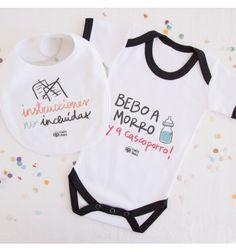 """Este pack de bebé incluye el body """"Bebo a morro ¡y a cascoporro"""" y el babero de bebé """"instrucciones no incluidas"""" diseñados por Pedrita Parker"""