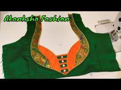 Paithani patch work blouse back neck design cutting and stitching – holdon Churidar Neck Designs, Saree Blouse Neck Designs, Dress Neck Designs, Diy Blouse, Sari Blouse, Sleeve Designs, Patch Work Blouse Designs, Simple Blouse Designs, Stylish Blouse Design