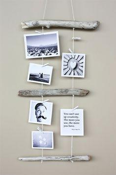 4. #Driftwood Photo #Display - 30 Perfect #Ideas for Photo Display ... → DIY #Worthy