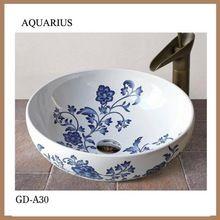 alta calidad lavabo de cerámica redondo de color pequeño cuarto de baño