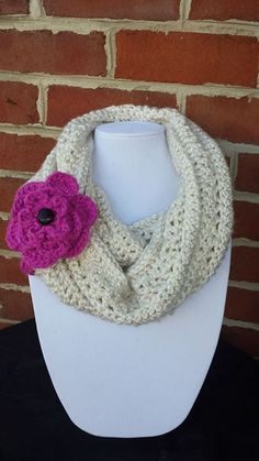 Crocheted Cowl with removable flower