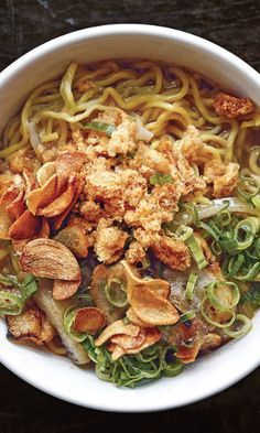 A regional soup packed with egg noodles and pig parts, La Paz batchoy was born in the La Paz district of Iloilo city, in the province where chef Dale Talde's mother was born. Talde's version streamlines the traditional recipe, keeps the liver and intestines optional, and applies just enough shrimp paste to keep things funky.