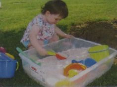 "Idea from Parents magazine: ""I filled a large, plastic storage container with sand and toys so that my kids have a sandbox to play with when we travel to their grandparent's house to go to hang out in the park.  I just snap on the lid and throw the whole thing into the trunk of my car."""