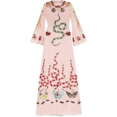 Gucci Embroidered Silk Organdy Gown (148.000 NOK) ❤ liked on Polyvore featuring dresses, gowns, light pink, long sleeve ball gowns, silk slip dresses, long pink dress, long sleeve evening dresses and beaded gowns