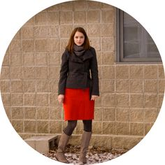 red pencil skirt, grey tights, boots, jacket, outfit