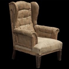 1STDIBS.COM - Obsolete - Primitive Rolled Arm Wingback Chair