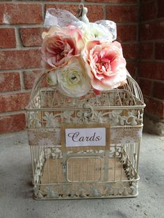 Large Wedding Bird Cage Card Holder - Burlap And Lace With Pale Pink White Flowers. $75.00, via Etsy.