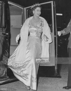 Queen Elizabeth II wearing a jewel encrusted evening gown and tiara arrives at No 23 Knightsbridge for the Grenadier Guards Tercentenary Dance London. Hm The Queen, Royal Queen, Her Majesty The Queen, Save The Queen, Queen Mary, Young Queen Elizabeth, Princess Elizabeth, Princess Margaret, Windsor