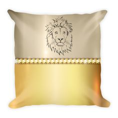 Golden Lion - Double Sided Throw Pillow - Get this double Sided Print Pillow Now! Specs: DOUBLE SIDED PRINT! - Get Two Pillows in One for the SAME PRICE! Individually Handmade in California Velvety soft, comfy and cushiony texture Filled with a nice puffy stuffing Durable Pillow case is machine washable Concealed Zipper Pillow insert included (handwash only) Resilient polyester filling retains shape #heart #art #pets #pillow #pillows #homedecor #gift #lion #safari #gold