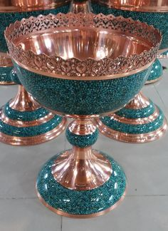 Persian Turquoise Compote Bowl - Firoozeh Art Deco Masterfully Crafted,  Persian Turquoise on Copper   Hand-made in Esfahan - 100% Genuine & Authentic  Diameter: 32 cm (13 in)   Height: 42 cm (17 in)