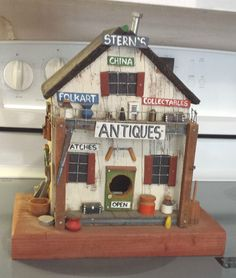 Vintage Wooden Stern's Folk Art Miniature Antique Store Birdhouse #Unbranded