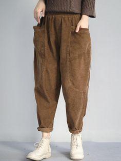 Corduroy Solid Color Harem Pants - Men's style, accessories, mens fashion trends 2020 Fashion Moda, Fashion Pants, Hijab Fashion, Fashion Outfits, Harem Pants Pattern, Harem Pants Men, Harem Pants Outfit, Corduroy Pants, Trousers