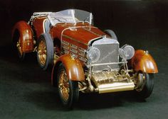 """Wingrove20.jpg (800×571)..........This 1924 Hispano Suiza H6C in 1/15 scale with its wood planked body and full wood """"pontoon"""" fenders presented a unique challenge in model construction. The tight grained pear wood faithfully represents the original Honduras mahogany and over 13,000 brass pins .012"""" in diameter were installed to represent the original brass rivets."""
