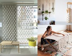 found on Remodelista: wallhanging by Sally England - potholders  Modern Macrame - Emily Katz at work in her studio