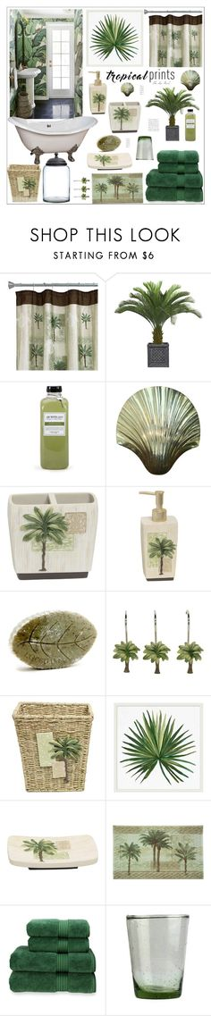 """""""Tropical Bathroom"""" by theseapearl ❤ liked on Polyvore featuring interior, interiors, interior design, home, home decor, interior decorating, Bacova, Laura Ashley, Archipelago Botanicals and L'Occitane"""