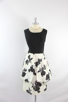 1950's Vintage Dress  XL Black and White by VintageFrocksOfFancy, $190.00