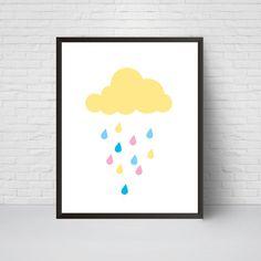 Cloud Nursery Print Rainbow Cloud Kids Wall Art by EVEprints