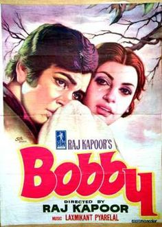 "Poster for ""Bobby,"" the 1973 Bollywood film directed by Raj Kapoor. The film was widely popular, and widely imitated. Bollywood Posters, Bollywood Songs, Good Girl, Cinema Posters, Film Posters, Old Movies, Great Movies, Bollywood Heroine, Vintage Bollywood"
