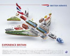 British Airways British Icons: BA is celebrating Britain in a new print and outdoor ad campaign promoting new direct flights to London. In the ad, British icons are used to illustrate a plane. Campaign by BBH Singapore