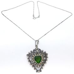 Vintage Victorian Silver Paste Green Heart Glass Pendant Necklace | Clarice Jewellery | Vintage Costume Jewellery