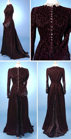 Day dress, ca. 1878. Plum silk voided velvet with pleated insertions of plum silk satin panels at front & sides and on train. Closes in front with 18 plum-colored mother of pearl buttons. Both pieces lined in polished cotton. Brass-tipped whalebone stays and brass hook & eye interior closure. Trousseau.net via The Wayback Machine