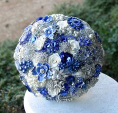 Royal Blue Brooch Bouquet. Deposit on made to by annasinclair, $75.00