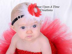 Red & White Santa Sparkle Flower Newborn Baby Girl Headband Christmas Hair Bow #Handmade