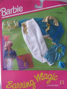 NEW BARBIE FASHION PACK ~ 1992 ~ WHITE /TEAL SATIN w/GOLD TRIM & ACCENTS OUTFIT