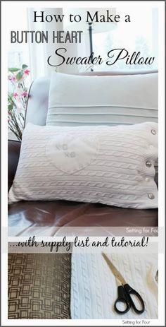 How to Make an Easy DIY Button Heart Sweater Pillow #diy #pillow