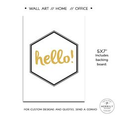 Hello  Home Office Black White and Gold Wall Art by MERRILYDESIGNS