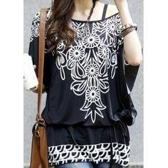 Breve camiseta cuello Crisantemo impresión de manga corta camiseta con correa para las mujeres para Vender - La Tienda En Online IGOGO.ES