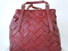 COLE HAAN BURGUNDY WOVEN LEATHER XL PRUDENCE TOTE