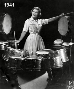 """Viola Smith, American drummer who played in orchestras, swing bands and popular music recordings in the 1930s and 40s. She was one of the first professional female drummers in the USA. Viola wrote an editorial to Down Beat Magazine in the 40's about the existence of """"hep girls""""; female jazz musicians who could sit in any jam session and hold their own. She asked readers to """"give girl musicians a break"""". A firestorm of letters-to-the-editor ensued, debating the topic: """"Can women play jazz?"""""""