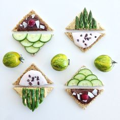 Finger foods for Sunday afternoon tea: a) hummus and asparagus b) cream cheese and cucumber c) strawberry yogurt with cacao nibs d) nutella with shredded coconut #afternoon tea #fingersandwiches #sandwich #toast