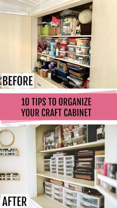 10 Tips for organizing a craft closet! Plus how to make labels using your Cricut cutting machine! 10 Tips for organizing a craft closet! Plus how to make labels using your Cricut cutting machine! Craft Storage Cabinets, Craft Cabinet, Craft Room Storage, Storage Ideas, Craft Storage Solutions, Closet Solutions, Craft Closet Organization, Scrapbook Organization, Small Space Organization