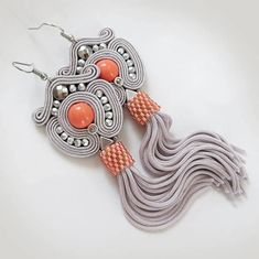 Excited to share the latest addition to my #etsy shop: Extra Long Coral Tassel Earrings Coral Fringe Coral peach tassel beaded earrings long tassel stud clip on coral gray earrings http://etsy.me/2CO1llV #jewelry #earrings #orange #soutache #sutasz #sutaszula #tassel