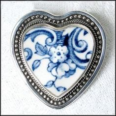 blue and white porcelain heart