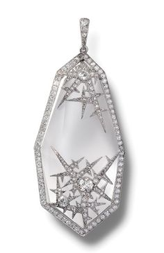 An ice pendant by Fabergé, of irregular octagonal form composed of frosted and faceted rock crystal bordered with old brilliant cut diamonds and applied with rose and brilliant cut diamond set icicles. Art Deco Jewelry, I Love Jewelry, Fine Jewelry, Jewelry Design, Stylish Jewelry, Antique Jewelry, Vintage Jewelry, Faberge Jewelry, Platinum Jewelry