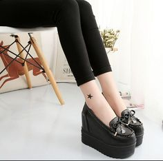 Girls Round Toe Platofrm Wedge Creepers Bowkont Pumps Casual Shoes High Heelc381