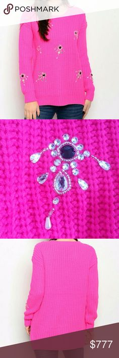 """HOT PINK OVERSIZED SWEATER Brand new,Boutique item Add a sassy twist to your boring sweater collection with this fabulous chunky knitted oversize sweater in a gorgeous HOT PINK color featuring rhinestone and bead details. This sweater is a season must have! 100%acrylic Size S/M Bust 21""""across/front legnth24.5"""",back length 26.5"""" Size M/L Bust 22"""" across/front length 25"""",back length 27"""" PRICE IS FIRM . Sweaters Crew & Scoop Necks"""