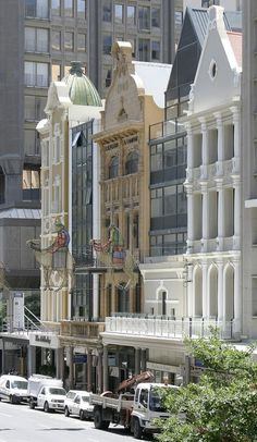 Adderley Street, Cape Town at festive season - Two wisemen of the Christmas lights display looking ghostly in daylight
