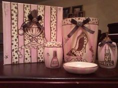 Pink Cream Brown And Leopard Print Bathroom Set Ready To Sell 100